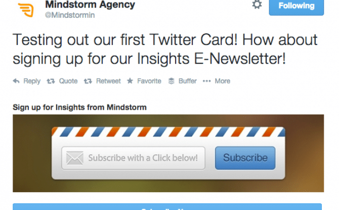 Grab your twitter card and also sign up for our insight e-news letter