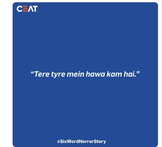 CEAT answer to Six Word Horror Story challenge on twitter.