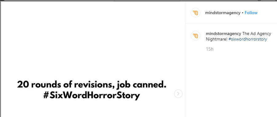 Mindstorms answer to Six Word Horror Story challenge on twitter.