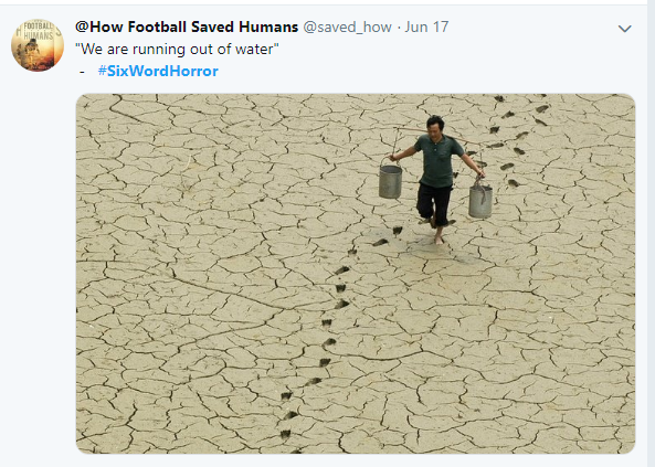 @HowFootballsavedHuman answer to Six Word Horror Story challenge on twitter.