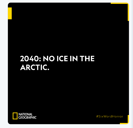 National Geographic answer to Six Word Horror Story challenge on twitter.