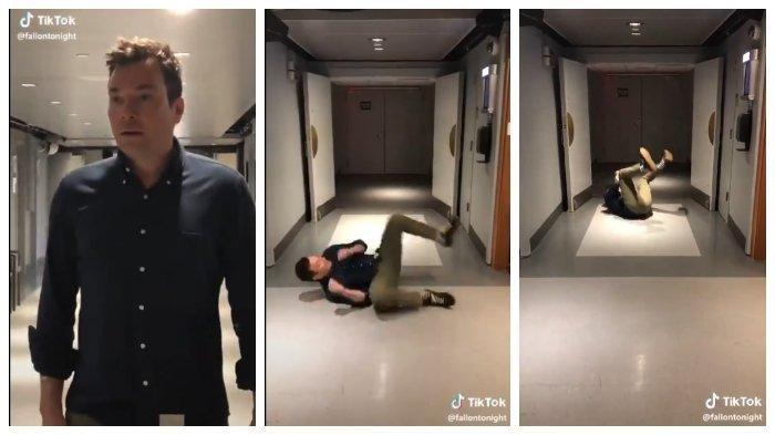 Jimmy fallon doing the #tumbleweed challenge on TikTok for Fans.