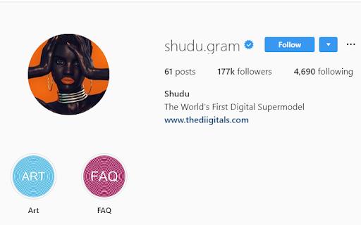 shudu.gram worlds first Digital supermodel in digital marketing space who have 100k plus followers.