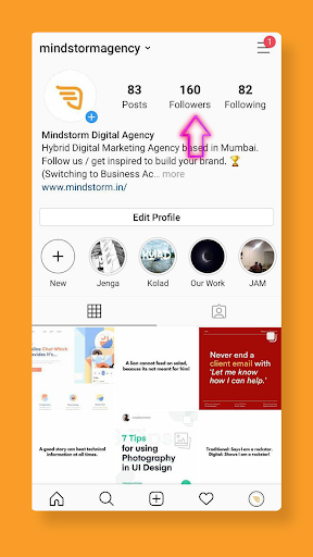 Instagram a social media platform where you can see your followers.