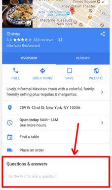 Customers can ask questions directly to your business through Google My Business