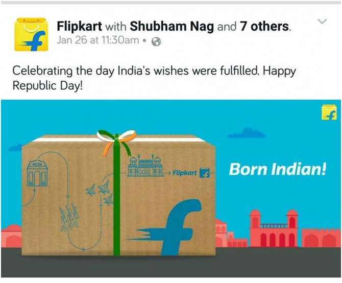 Flipkart Post for Republic Day in India for social media