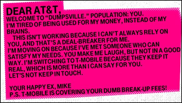 T-Mobile, Break up Letter