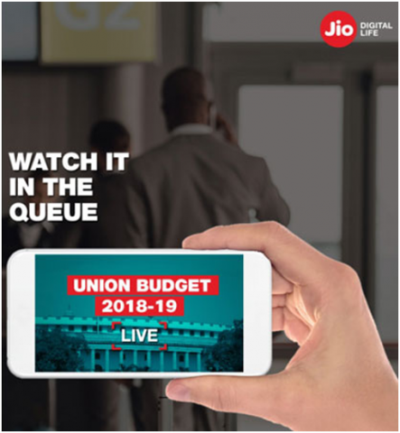 Jio, union budget ad photo that had huge audience engagement.