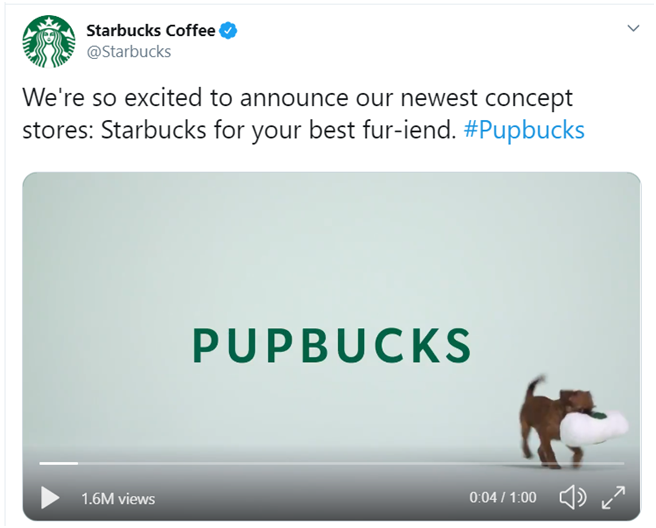 April fools day digital marketing campaigns in 2019 by Starbucks Coffee